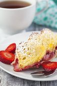 foto of french toast  - Baked French Toast With Strawberry and cup of tea - JPG