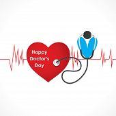 stock photo of beating-heart  - happy doctor day design with heart beat and stethoscope vector - JPG