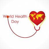 image of stethoscope  - world health day connected with heart shape earth by stethoscope design vector - JPG