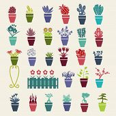 picture of plant pot  - Vector stilyzed silhouette of garden flowers and herbs pot plants icons set  - JPG