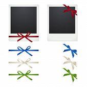 pic of polaroid  - Set Polaroid photo frames with bows on white background - JPG