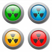 pic of radioactive  - Radioactivity icon on buttons set - JPG