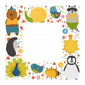 Постер, плакат: Cute animal frame with baby animals