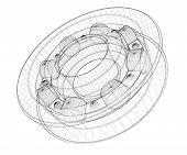 foto of bearings  - steel ball roller bearings body structure wire model - JPG