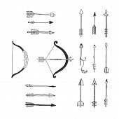 foto of bow arrow  - Vector Bow and arrow isolated - JPG