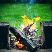 picture of brazier  - Campfire in the Bricks Brazier on the Nature - JPG