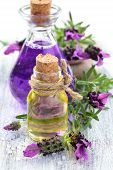 stock photo of perfume  - Aromatherapy spa background with a sprig of fragrant lavender with essential oil and plant extracts with copyspace - JPG
