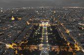 stock photo of nightfall  - View of the Nightfall in Paris Ile - JPG