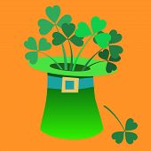 stock photo of leprechaun hat  - Leprechaun hat with a Shamrock inside Patricks day symbol tale - JPG