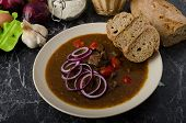 pic of red hot chilli peppers  - Original Czech beef goulash red onion hot chilli peppers in and bio healthy wholemeal bread - JPG