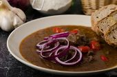 picture of red hot chilli peppers  - Original Czech beef goulash red onion hot chilli peppers in and bio healthy wholemeal bread - JPG