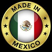 foto of mexican  - Made In Mexico gold badge and icon with central glossy Mexican flag symbol and stars - JPG