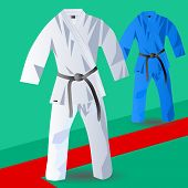 foto of judo  - two kimono for judo on abstract tatami - JPG