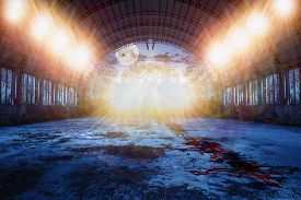 stock photo of fool  - zombie dance place in abandoned ruined hangar with and blood on the floor and lots of lights in the green forest at night with fool moon - JPG