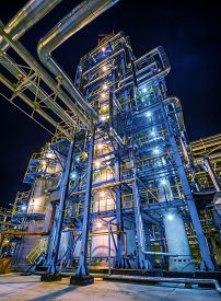 picture of refinery  - big Oil and gas Refinery At Night - JPG