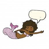 stock photo of mermaid  - cartoon mermaid with speech bubble - JPG