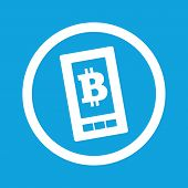 foto of bitcoin  - Image of bitcoin symbol on phone screen in circle - JPG