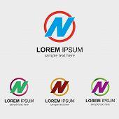 image of letter n  - Letter N logo design template letter N icon - JPG