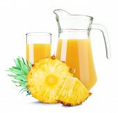 stock photo of jug  - pineapple juice in a jug isolated on white background - JPG