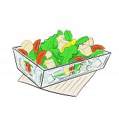 picture of caesar salad  - Salad Caesar in a glass salad dish - JPG