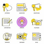 picture of mass media  - Journalism and mass media vector icons set - JPG