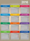 stock photo of monday  - Spanish calendar for year 2016 week starts on Monday vector illustration - JPG