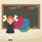 image of schoolgirls  - Schoolgirl with balloons near the school board - JPG