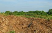 stock photo of feces  - Steaming pile of manure on farm field - JPG