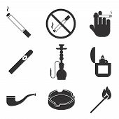foto of tobacco smoke  - Vector smoking icons set - JPG