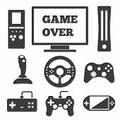 stock photo of controller  - Video game entertaining icons set - JPG