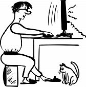 stock photo of programmers  - freelance programmer working at home comic vector illustration - JPG
