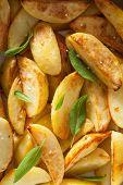 image of baked potato  - baked potato wedges background - JPG