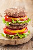 pic of tomato sandwich  - healthy sandwich with salami tomato pepper and lettuce - JPG