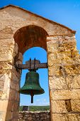 pic of blue-bell  - Medieval stone castle in Calafell town Spain - JPG