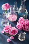 image of flask  - alchemy and aromatherapy set with rose flowers and chemical flasks - JPG
