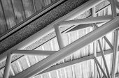 pic of gutter  - steel roof truss with zinc gutter and roof insulation black and white - JPG