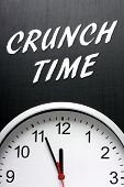 picture of midnight  - The phrase Crunch Time in white text on a blackboard above a clock with the hands pointing at midnight or twelve - JPG