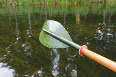 stock photo of kayak  - Beautiful Krutynia river landscape photographed from kayak - JPG