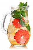 image of jug  - Jug of lemonade with lemon balm and grapefruit - JPG