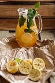 picture of jug  - Jug of Iced lemonade with lemon balm - JPG