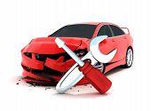 foto of rework  - Car crash on white background  - JPG