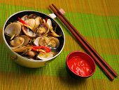picture of clam  - herbal clam soup Vietnam style served on a place mat - JPG