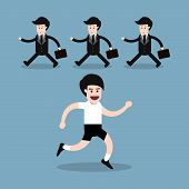 picture of opposites  - running man with businessman walking opposite direction health concept - JPG