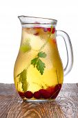stock photo of pitcher  - Glass pitcher of homemade spritzer  - JPG