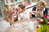 image of visitation  - Mom and daughter on a visit to with her grandmother - JPG