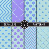stock photo of rhombus  - Set of vector seamless geometric pattern backgrounds and textures for decoration - JPG