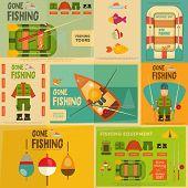 stock photo of fishing bobber  - Fishing Mini Posters Set - JPG