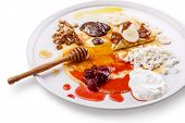 foto of crepes  - Crepes on a dish with various sweet toppings - JPG