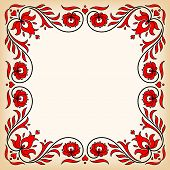 image of hungarian  - Empty vintage frame with traditional Hungarian floral motives - JPG