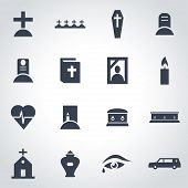 picture of funeral  - Vector black funeral icon set on grey background - JPG
